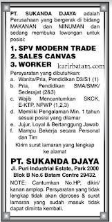 Lowongan Kerja PT. Sukanda Djaya Batam
