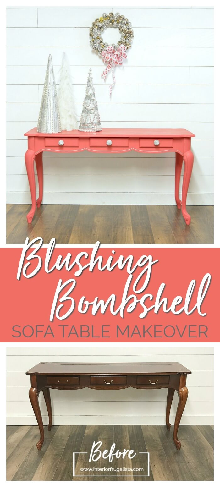 Blushing Bombshell Sofa Table Makeover