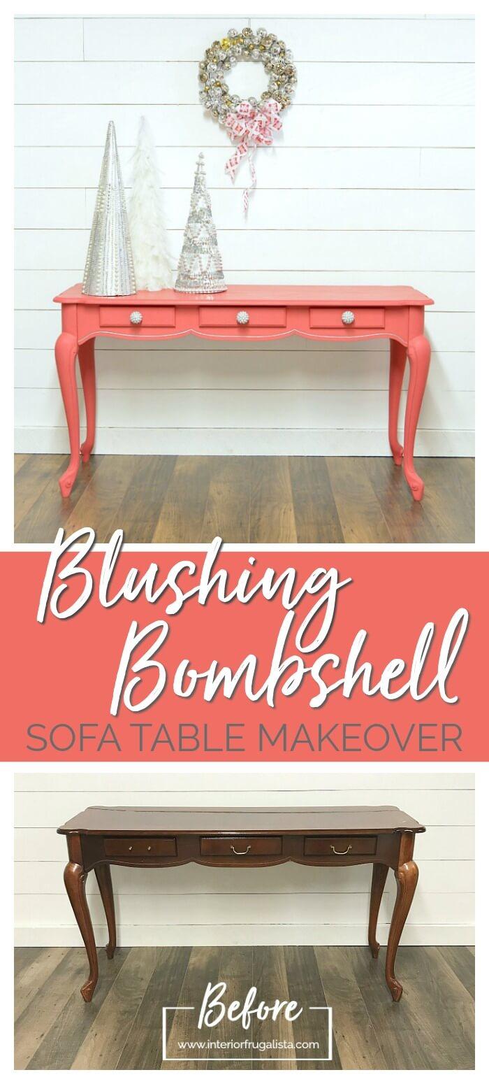 Blushing Bombshell Sofa Table Makeover