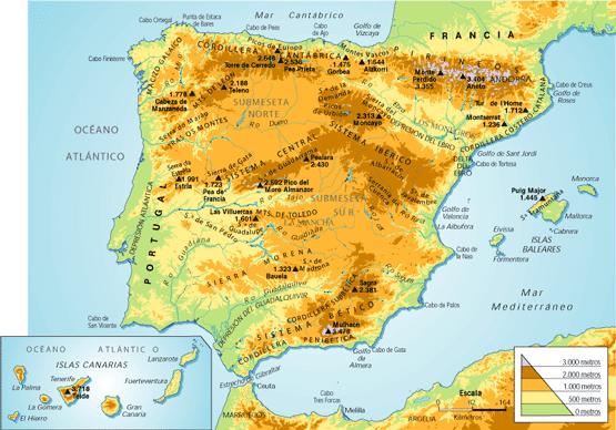 Cordillera Betica Mapa Fisico.Red Geografica Mapa Fisico De Espana 1º Eso