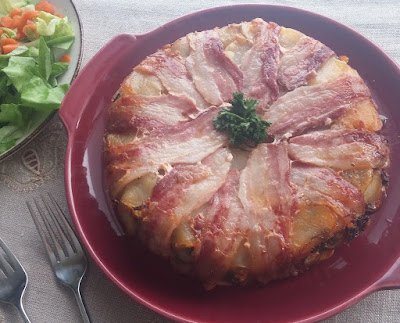 Bacon & Potato Pie with Cheese & Green Onions