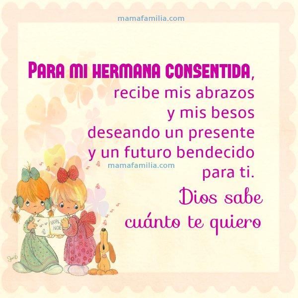 imágenes con frases para hermanas, saludos y frases de aliento entre hermanas para facebook, mensaje por Mery Bracho.