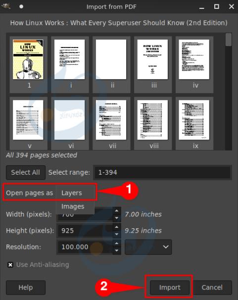 استيراد ملف PDF في Gimp