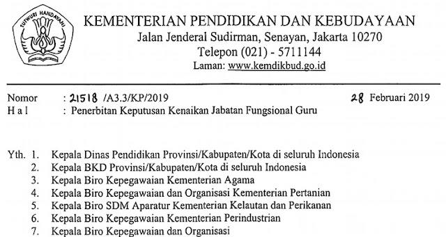Edaran Penerbitan  Keputusan  Kenaikan  Jabatan  Fungsional  Guru No:  21518  /A3.3/KP/2019