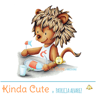 Cute lion digital stamp