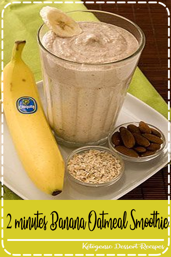 Almonds, oatmeal, bananas and yogurt meet up in your blender for a power breakfast. Drink this Banana Oatmeal Smoothie before your morning exercise routine and you'll have the energy you need to get through your workout #easyrecipes #healthyrecipes #recipes