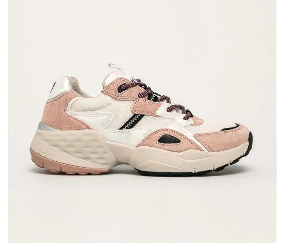 Wrangler - Pantofi sport albi din piele cu talpa groasa la moda