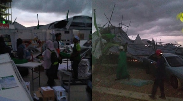 (15 Gambar) Ribut Landa Muktamar PAS, 18 Cedera 4 Dilaporkan Hilang