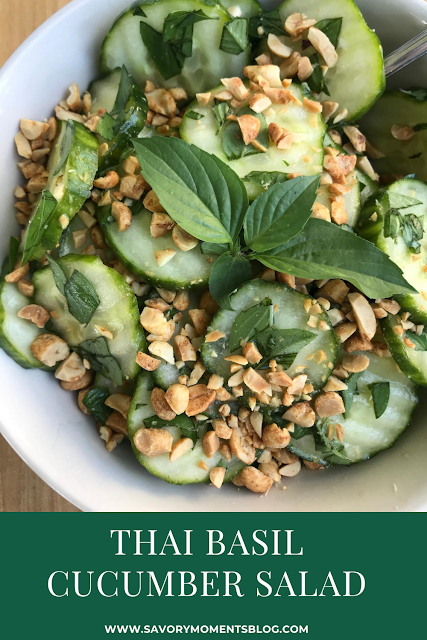 A refreshing summer salad fill of crispy cucumbers, fresh Thai basil, and a simple rice vinegar dressing, and topped with crunchy roasted peanuts.
