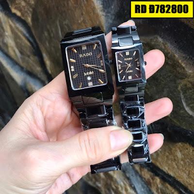 Đồng hồ nam mặt chữ nhật dây đá ceramic đen RD T782800