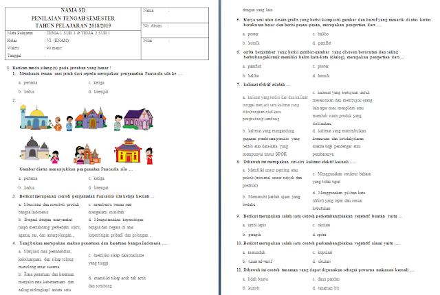 Soal UTS Kelas 6 Tema 1-2 Subtema 3-1