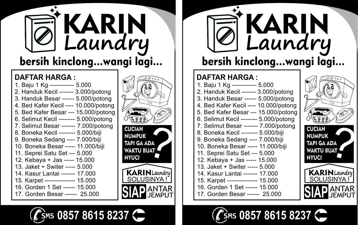 Contoh Desain Brosur Laundry Hitam Putih Fotocopy Cdr Yazhmedia