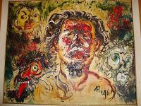 "Pelukis : Afandi Tahun: 1961 Judul : "" Potret Diri & Topeng-topeng Kehidupan "" Ukuran : 110cm X 135cm Media : Oil on Canvas"