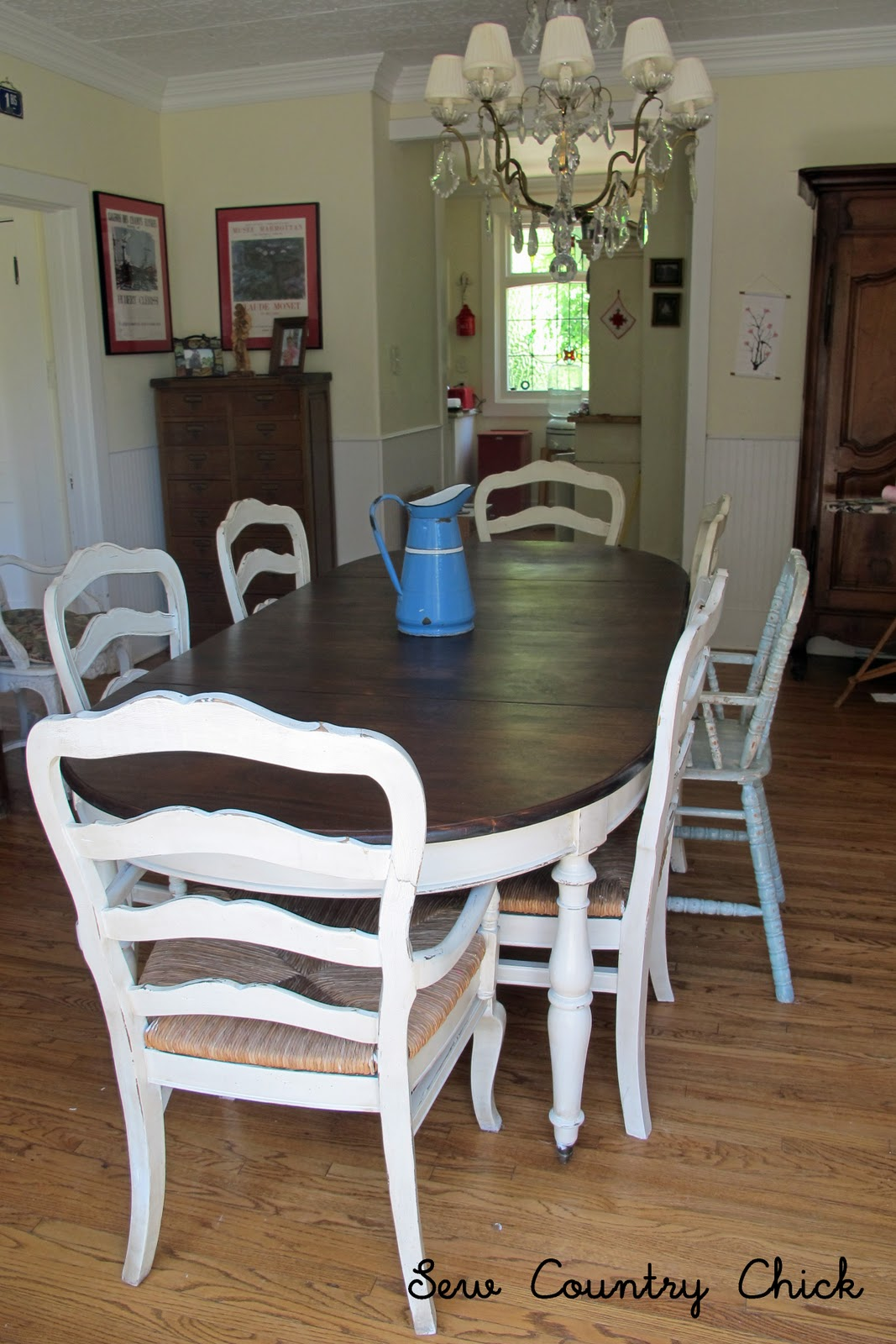 French Country Glazed Creamy Painted Dining Set  Mini