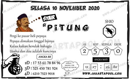 Syair Si Pitung HK Selasa 10 November 2020