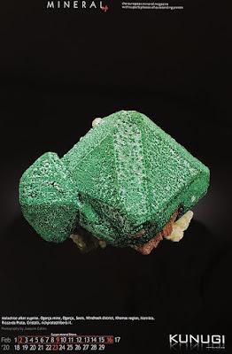 mineral, calendario, malaquita, cuprita