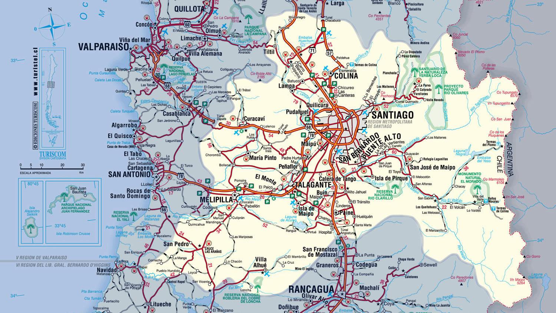 Mapa do chile regi o metropolitana de santiago mapasblog for Calles de santiago de chile