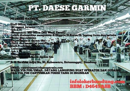 Lowongan Kerja PT. Daese Garmin November 2016