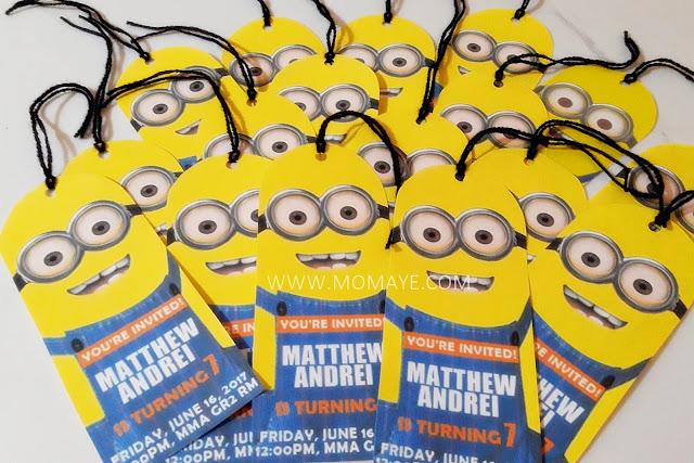Despicable Me, Minions, bookmark, birthday invitations, DIY