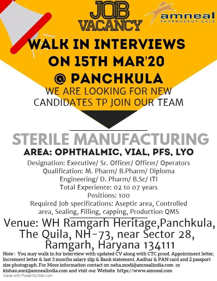 Amneal Pharma – Mega Walk-In Interviews for Multiple Positions || 100  Positions on 15th Mar' 2020