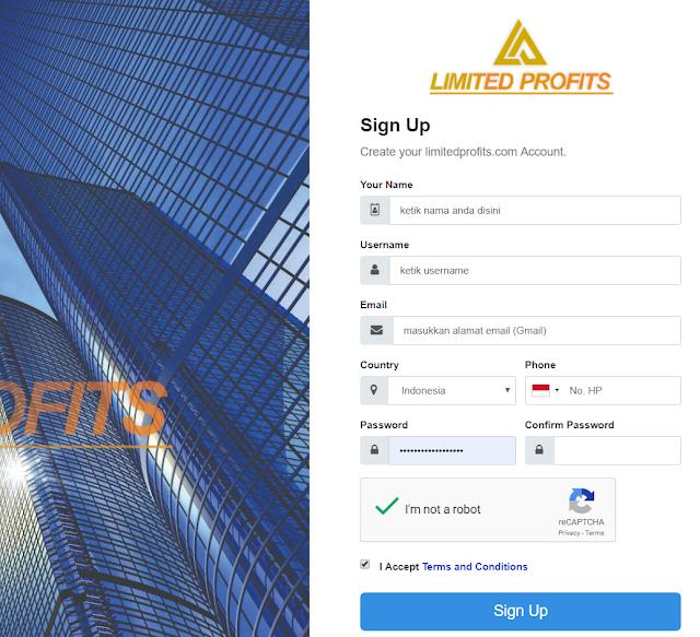 Isi Formulir Pendaftaran Limited profits Secara lengkap