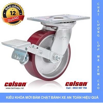 Bánh xe công nghiệp PU Colson có khóa chịu lực 540kg | 6-6209-939BRK1 www.banhxedayhang.net