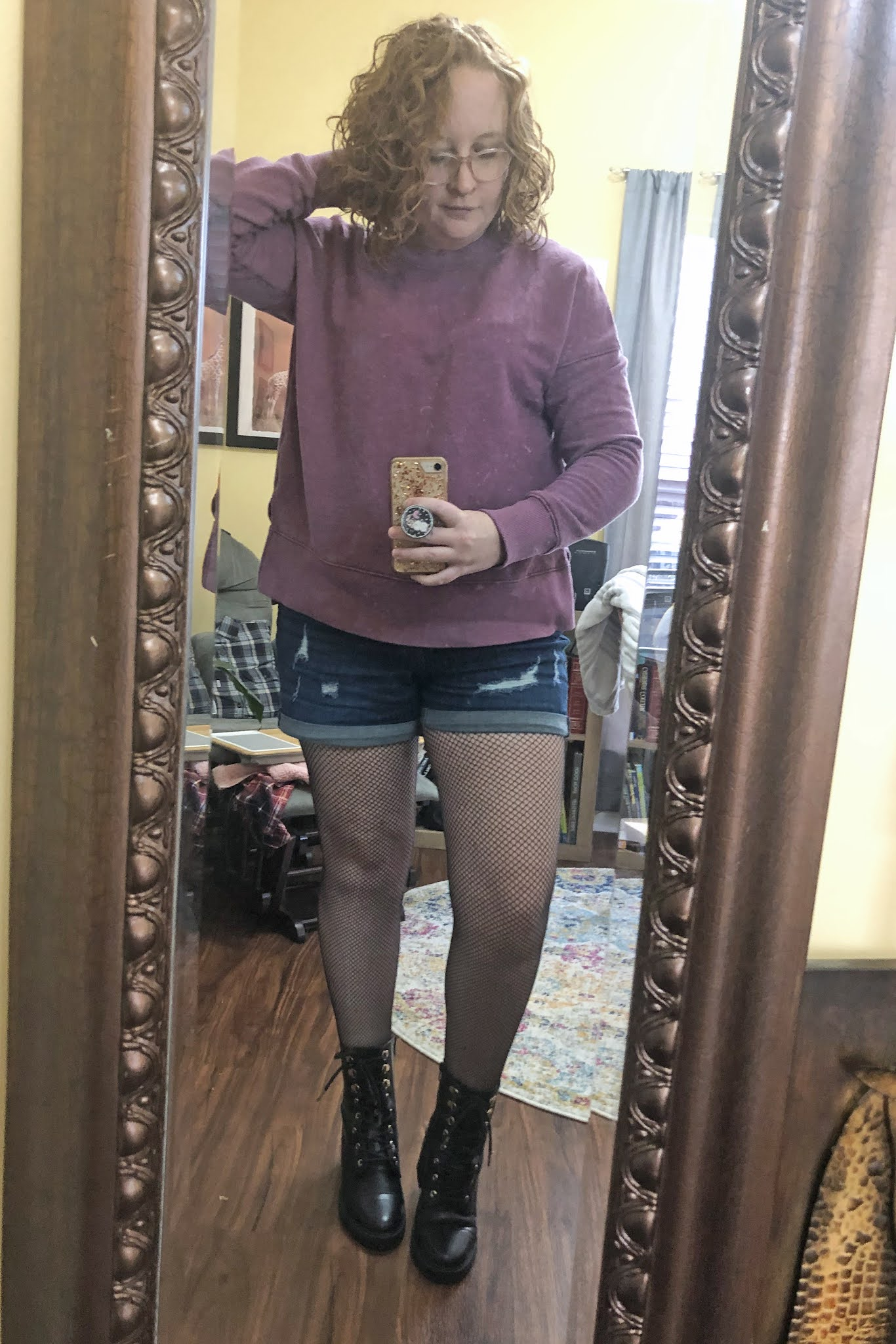 sweatshirt with shorts and tights