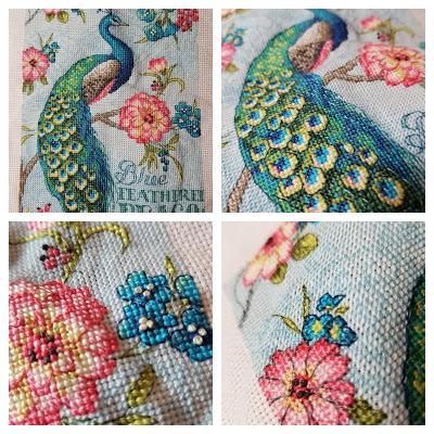 Blue Peacock Cross Stitch Up Close