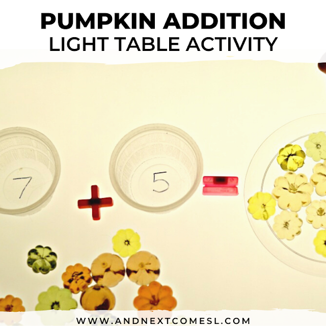Pumpkin addition - fall light table ideas