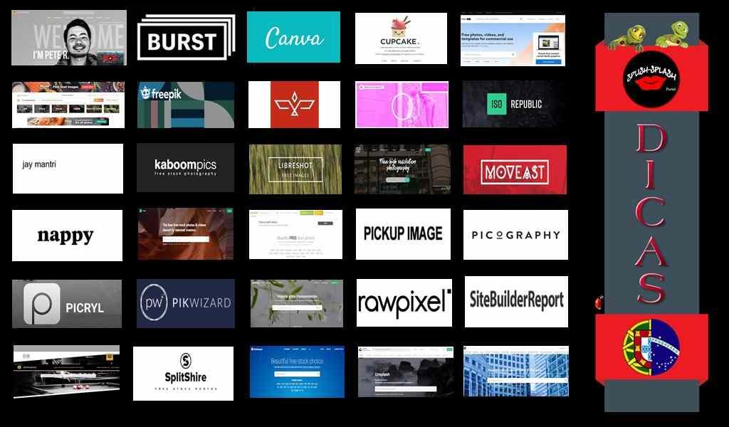 Lista de 30 sites de imagens grátis, sendo que alguns, para além das imagens, também disponibilizam vídeos.