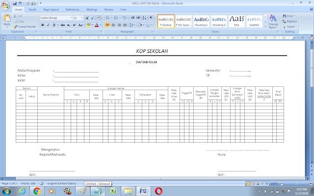 Contoh format daftar nilai siswa