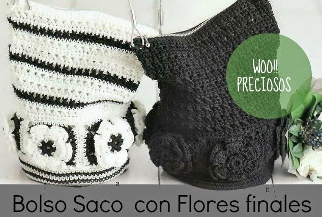 Bolso Saco de Crochet con Flores Patron