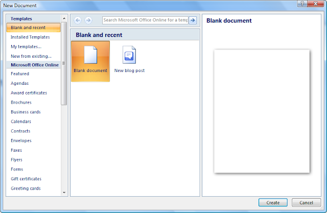New Document on MS Word 2007