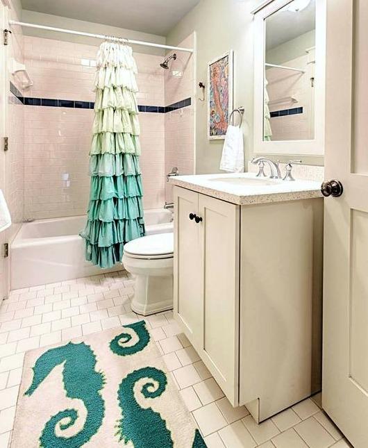 Perfect Shower Curtain u Coastal Bath Rug Combo Ideas Shop the Look