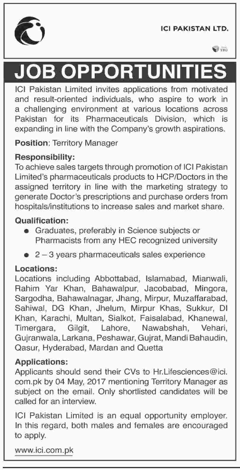 Territory Manager jobs in ICI Pakistan Limited 2 may 2017