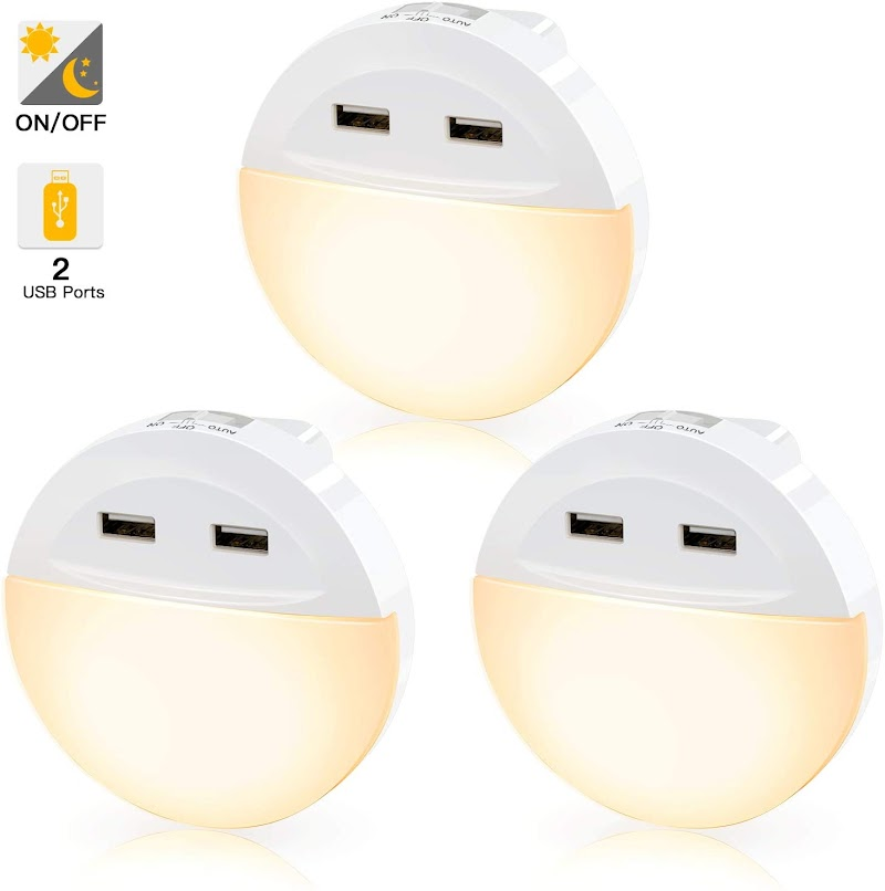 3 Pack Night Light with USB Ports 50%OFF
