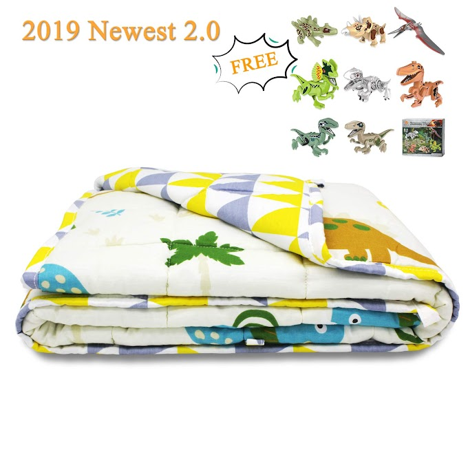 AMAZON - Weighted blanket for kids with dinosaur building blocks