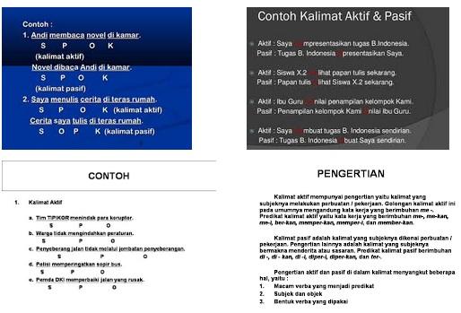 Contoh Kalimat Aktif dan Kalimat Pasif
