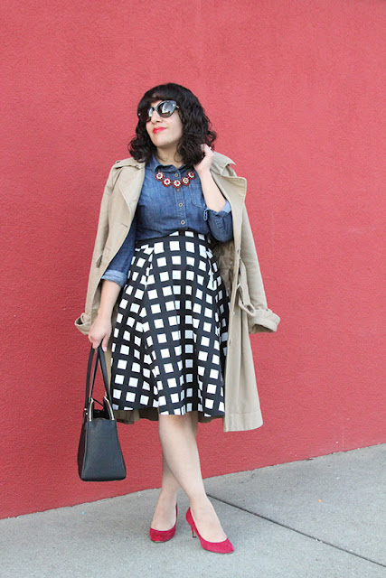 Kate Spade Black and White Midi Skirt Outfit | Will Bake for Shoes