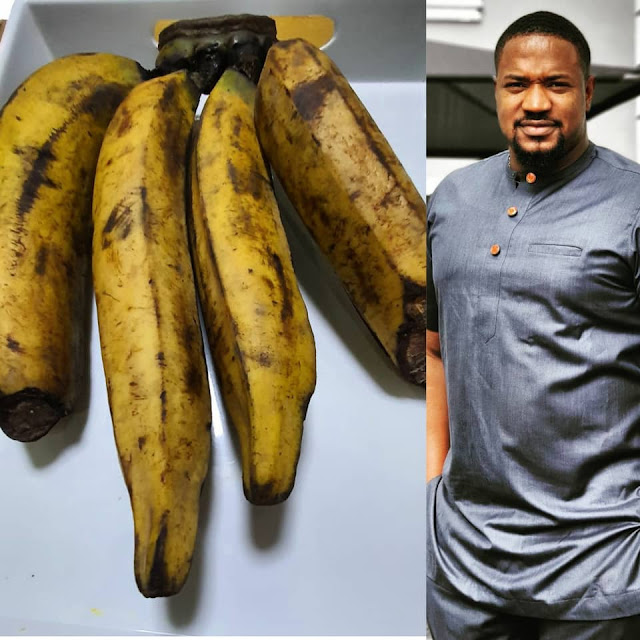 Actor Mofe Duncan Cries out as he shows off the Bunch of Plantain he Bought for N6000
