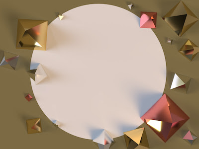 3D Shiny pyramids top view on brown background