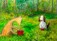 Mustikoita poimimassa. Hulmu and Haukku are picking berries