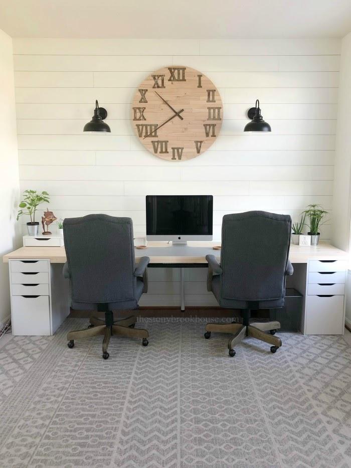 Skinny Shiplap Wall Clock Office