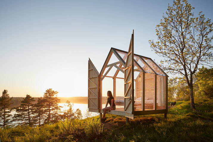 A 72 hour cabin on the Henriksholm island in Dalsland, West Sweden. To explore the effects of the unique relationship Swedes have with nature, Sweden did a case study in September 2017. Five people with some of the most stressful jobs got to experience Sweden's 'close to nature' lifestyle, whilst their well-being was measured by leading researchers. During the study, the participants stayed in custom-built cabins made of glass to be as close to nature as possible. After 72 hours, they all showed a decrease in blood pressure, stress levels and heart rate - and they became more creative too.
