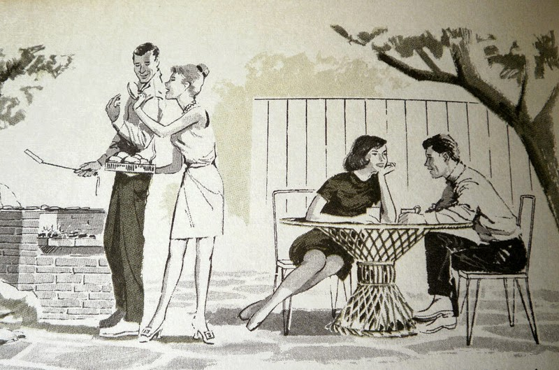 1960s couples enjoying a bbq