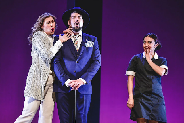 Opera to Die For: Alexandra Lowe, Frederick Jones and Julieth Lozano in Die Fledermaus - National Opera Studio (Photo: NOS - Kirsten McTernan 2020)