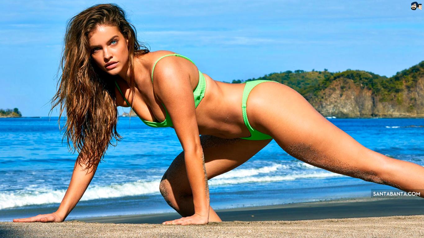 Barbara Palvin in Green Bikini Sexy Wallpaper