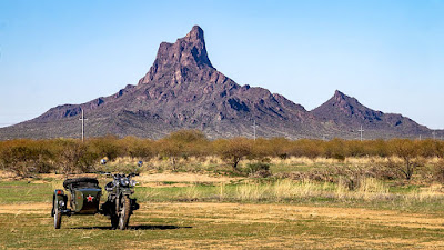 Another errand, another view of Picacho Peak and Varmints in the camp