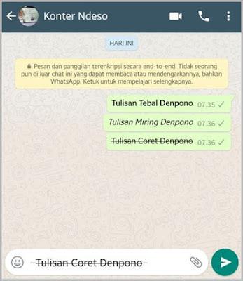 Membuat Tulisan Coret di Whatsapp