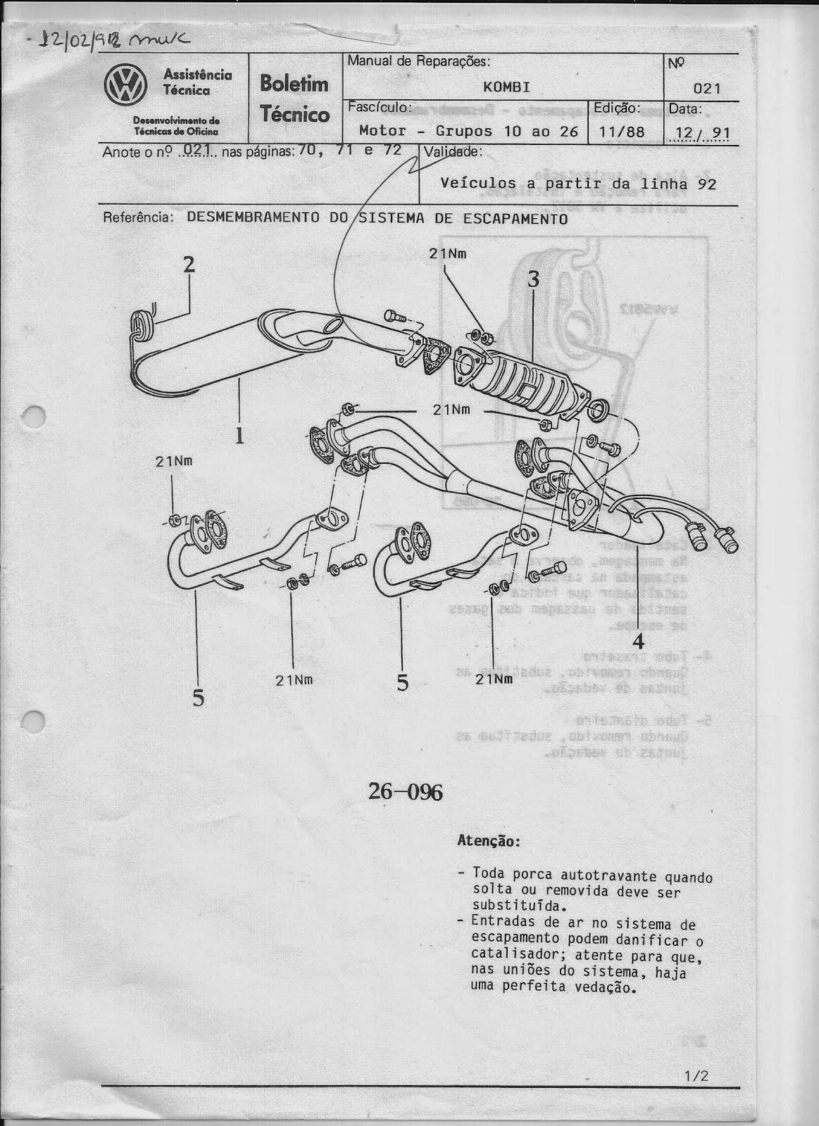 OFICINA VW : MANUAL DE REPARAÇÕES DA KOMBI 1988 (MOTOR